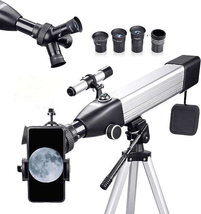 Telescopio astronomico per principianti 167x 500/60mm con adattatore telefonico treppiede regolabile e zaino QUNSE-X68