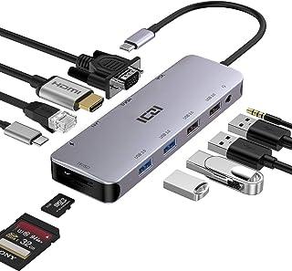 ICZI Hub USB C Thunderbolt 3 12 en 1 Adaptador USB Tipo C a 4 USB HDMI 4K Dex VGA RJ45 Ethernet Lector de Tarjeta SD TF US...
