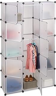 Relaxdays Étagère cubes rangement penderie armoire 11 casiers 2 tringles plastique modulable DIY, transparent