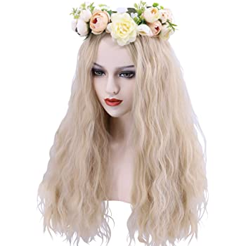 Carole Baskin Costume Wig with Flower Crown for Women