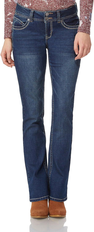WallFlower Women's Juniors Luscious Curvy Stretch Denim Bootcut Jeans (Size: 0-24 Plus / 30-32-34 Inseam)