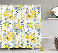 LILYMUA Floral Shower Curtain,Yellow Shower Curtain, Black Floral Watercolor Bright Summer Yellow and Blue Abstract Flowers Gray Simple Botanical Shower Curtain Waterproof Bathroom Decor 72X78 Inch