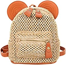 GERWADS Mickey Mouse Straw Backpack For Women Patchwork Woven Solid Shoulder School Girls Backpack Casual Travel Shopping Bags