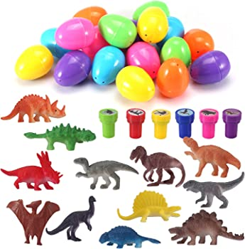 Easter Eggs with Prefilled Dinosaur Toys & Dinosaur Stampers (18 Pieces)