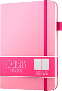 Dotted Journal by Scribbles That Matter - Create Your Own Unique Life Organizer - No Bleed A5 Hardcover Dotted Notebook with Inner Pocket - Fountain Pens Friendly Paper - Pro Version - Pastel Pink