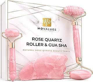Rose Quartz Roller with Gua Sha, Eye Roller set - Jade Roller for Face - Face Roller, Real 100% Jade - Face Massager, Facial Roller for Skin, Eyes, Neck   Tones, Firms, Depuffs, Reduces Wrinkles