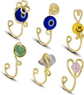 6 Pcs African Nose Cuff Non Piercing,Fake Nose Ring for Women, Evil Eye Nose Rings Hoop, Ear Cuff, Clip on Nose Ring