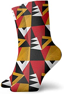 N / A, Colourful Geometry Abstract Crew - Calcetines para hombre, mujer, niños, trekking, rendimiento, 30 cm