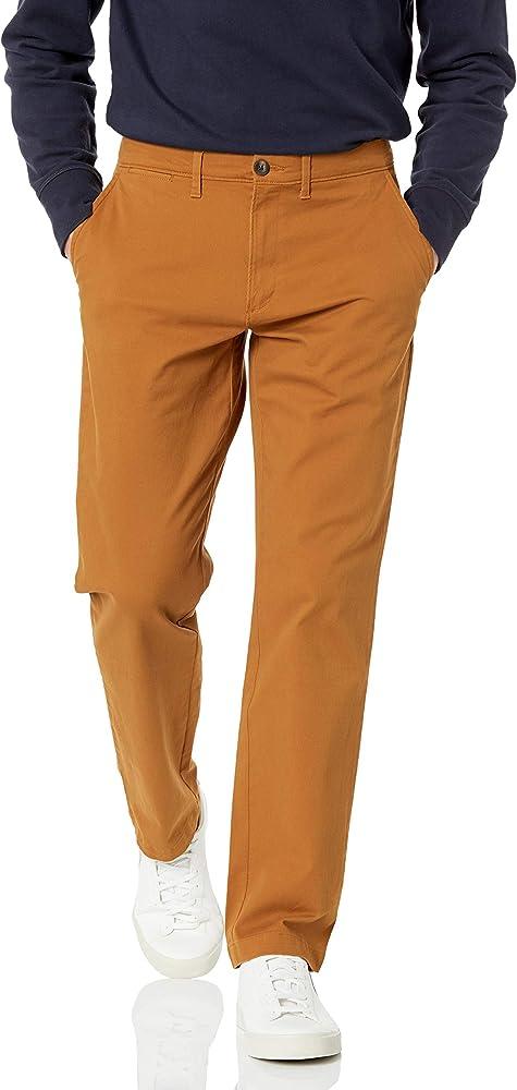 Amazon essentials, pantaloni per uomo elasticizzati, 97% cotone, 3% elastan, noce moscata MAE60011FL18B
