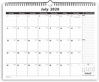 Nekmit 2020-2021 Academic Monthly Wall Calendar, Wirebound Calendar for Home Schooling Plan & Study, Ruled Blocks, 15 x 12, Black