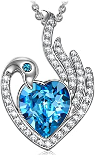 NINASUN Women Christmas Necklace Gifts Guardian Swan Women Necklace 925 Sterling Silver Animal Designed Pendant Necklace Fine Jewelry Crystals from Swarovski Hypoallergenic Material with Gift Box