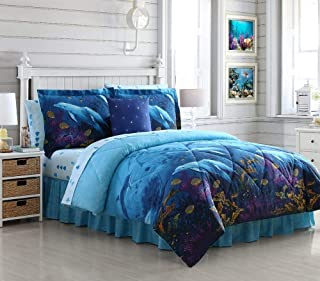 Ellison First Asia 20661803BB-MUL Dolphin Cove Bed in a Bag Comforter Set44; Blue - Queen Size44; 8 Piece