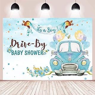"""MEHOFOND Honk """"It's A Boy Drive"""" Hintergrund für Babyparty, Party Dekoration, blaues Auto, Blumen, Ballon, Vögel, Geschenk, Tischzubehör, Fotografie Hintergrund, Vinyl, 2,4 x 1,8 m"""