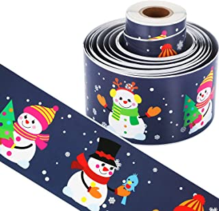 49 Feet Snow Bulletin Borders Bulletin Board Borders Trim for Christmas Party Decoration Supplies (Christmas Snowman)