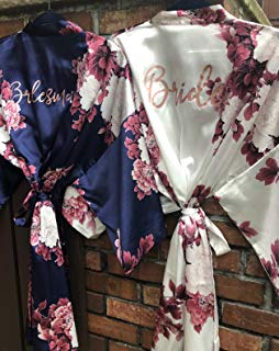 Bridesmaid Gift, Floral Bridesmaid Robes, Wedding Robe, Bridal Party Gift, Bridesmaid Robe, Satin Robe, Bridal Party Robes, Kimono