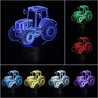 3D Lamp Tractor Acrylic Flat 7 Color Changing Table Light Touch Switch Toys for Girls & Boys Home Decoration