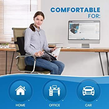 Everlasting Comfort Memory Foam Seat Cushion and Lumbar Back Cushion Combo - Gel Infused and Ventilated - Ergonomic D...