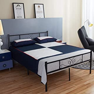 SimLife Full Size Metal Bed Frame with Headboard and Footboard Mattress Foundation Platform Bed for Adults Kids No Box Spring Needed Black