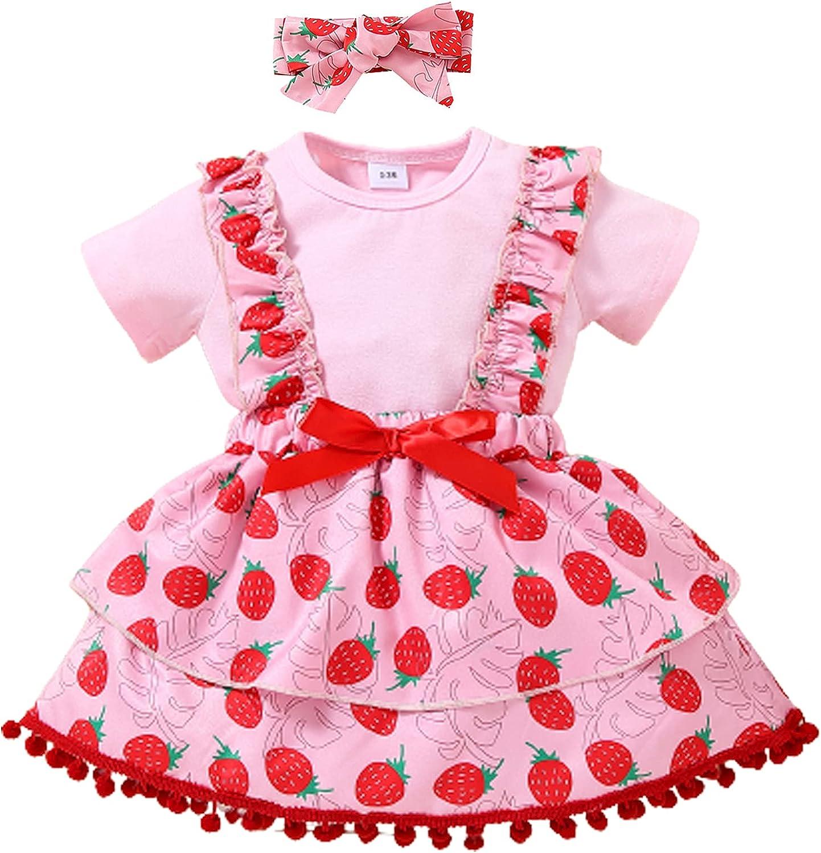 ZOELNIC Toddler Baby Girl Princess Dress Ruffle Short Sleeve Shirt Headband