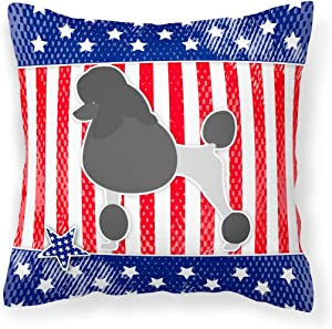 Caroline's Treasures BB3339PW1414 USA Patriotic Poodle Fabric Decorative Pillow, 14Hx14W, Multicolor