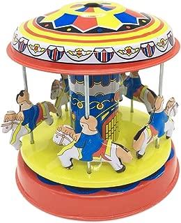 COZY LADYCRAFT Merry-go-round Carousel Model Tin Toy Collectible Vintage Clockwork Tin Toy