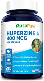 Huperzine A 400mcg 180 Veggie Capsules (Vegetarian, Non-GMO & Gluten-Free) - Nootropic Brain Supplement. Supports Healthy ...