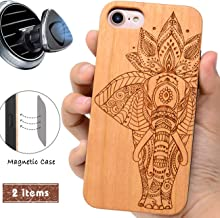 iProductsUS Elephant Phone Case Compatible with iPhone 8Plus, 7Plus, 6Plus, 6s Plus and Magnetic Mount-Wood Cases Engraved Elephant,Built in Metal Plate, TPU Rubber Shockproof Protective Cover(5.5