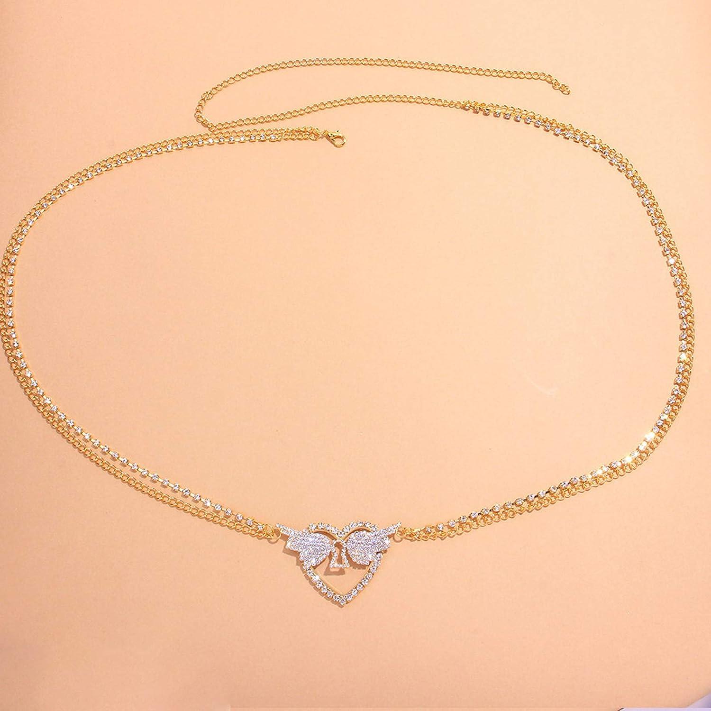 Rhinestone Butterfly Belly Chain Body Jewelry Crystal Waist Chain Belt Lower Back Chain Crystal Heart Body Chain for Women (Gold)