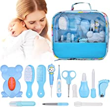 14 Kit Set Baby Healthcare Grooming, 13 In 1 Newborn Essentials Baby Stuff Shower Gifts Care Products, Nail Clippers Trimmer Comb Brush Thermometer Medicine Dispenser Nursery Care First Aid Kits, Blue