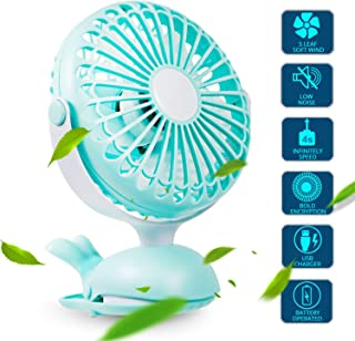 Clip Fan Portable Mini USB - Battery Operated Fan Silent Desk Fan, 360 Rotation, Rechargeable Battery Powered Fan, Small Cooling Quiet for Stroller, Bedroom, Office, Woman, Kids, Travel