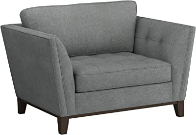 """Amazon Brand – Stone & Beam Lyon Upholstered Chair-and-a-Half, 55""""W, Steel"""