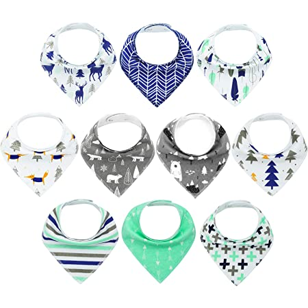 MYZIDEA 10-Pack Baby Bandana Drool Bibs for Boys Baby Bibs Drooling and Teething, 100% Organic Cotton, Super Soft and Absorbent Bibs…