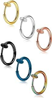 20pcs 4 couleur en acier inoxydable boucle anneau faux non percé anneau de