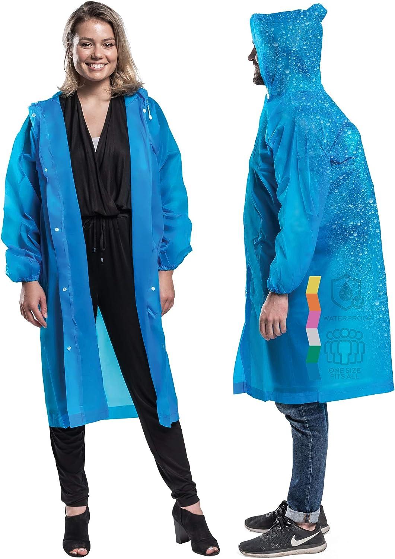 2 PK 100% Vinyl Clear Raincoat Snap Poncho 5 popular Sleeves Closure Max 76% OFF Long