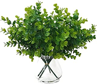 Lifelike Artificial Flowers Greenery Decor Fake Outdoor Plants Faux Eucalyptus Stems UV Resistant Indoor Farmhouse Decorations Plastic Boxwood 4 Psc
