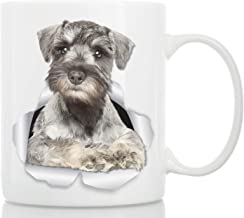 Curious Schnauzer Mug - Ceramic Gray Schnauzer Coffee Mug - Perfect Schnauzer Gifts - Funny Cute Schnauzer Coffee Mug for Dog Lovers and Owners (11oz)