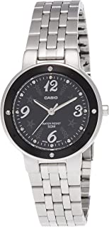 Casio Women's LTP1318D-1AV Silver Stainless-Steel Quartz Watch with Black Dial