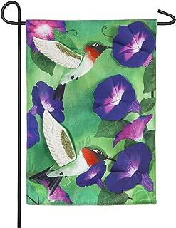 Evergreen Morning Glory Hummingbirds Burlap Garden Flag