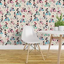 Spoonflower Peel and Stick Removable Wallpaper, Scooter Up Retro 50S Italian MCM Aqua Scooters Vintage Art Pinup Girls Rockabilly Style Kitsch Print, Self-Adhesive Wallpaper 24in x 144in Roll