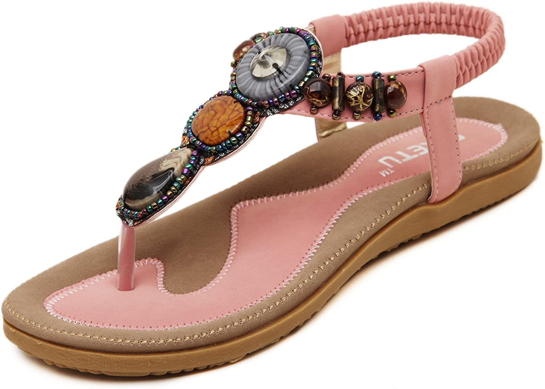 DQQ Women's Bohemian Gemstone Thong Sandal