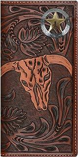 Custom 3D Belt Company Texas Ranger Lone Star Long Rodeo Checkbook Brown and Tan Cow Skull Wallet