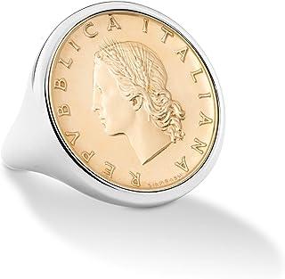 Miabella 925 Sterling Silver Genuine Italian 20-Lira Coin Ring for Women Made in Italy