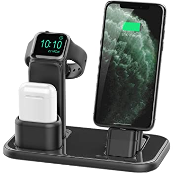 Conido 3 in 1 Charging Stand Compatible with iWatch Series 5//4//3//2//1,AirPods and iPhone 11//Xs//X Max//XR//X//8//8Plus//7//7 Plus //6S //6S Plus//9.7 inches iPad Two Cables Included