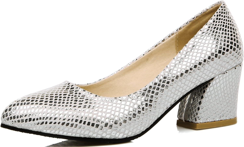 KingRover Women's Fashion Pointed Toe Block Heel Slip On Dress Pumps