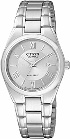 Citizen Women's Silver Stainless-Steel Quartz Watch with Silver Dial