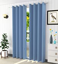 LaVichitra 2 Piece Blackout Curtains - 100% Opaque Door Curtain - 7 ft, Light Blue