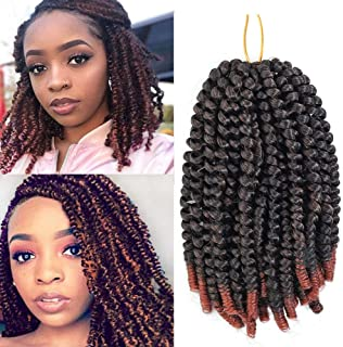 8 Pack Spring Twist Crochet Hair Ombre Bomb Twist Crochet Braids 8 Inch Fluffy Synthetic Braiding Hair Extensions 55g/pack (T1B/350)
