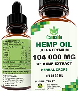 Hemp Oil Extract 104 000 mg, All-Natural Drops for Pain, Stress, Anxiety Relief, Deep Restful Sleep