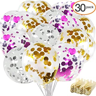 """Confetti Balloons, Ohuhu 30Pcs Balloons for Christmas Decorations, 12"""" Party Balloons W/ Golden Silver Purple Paper Confetti Dots for Xmas Party, Birthday Party, Wedding, Proposal, Baby Shower"""