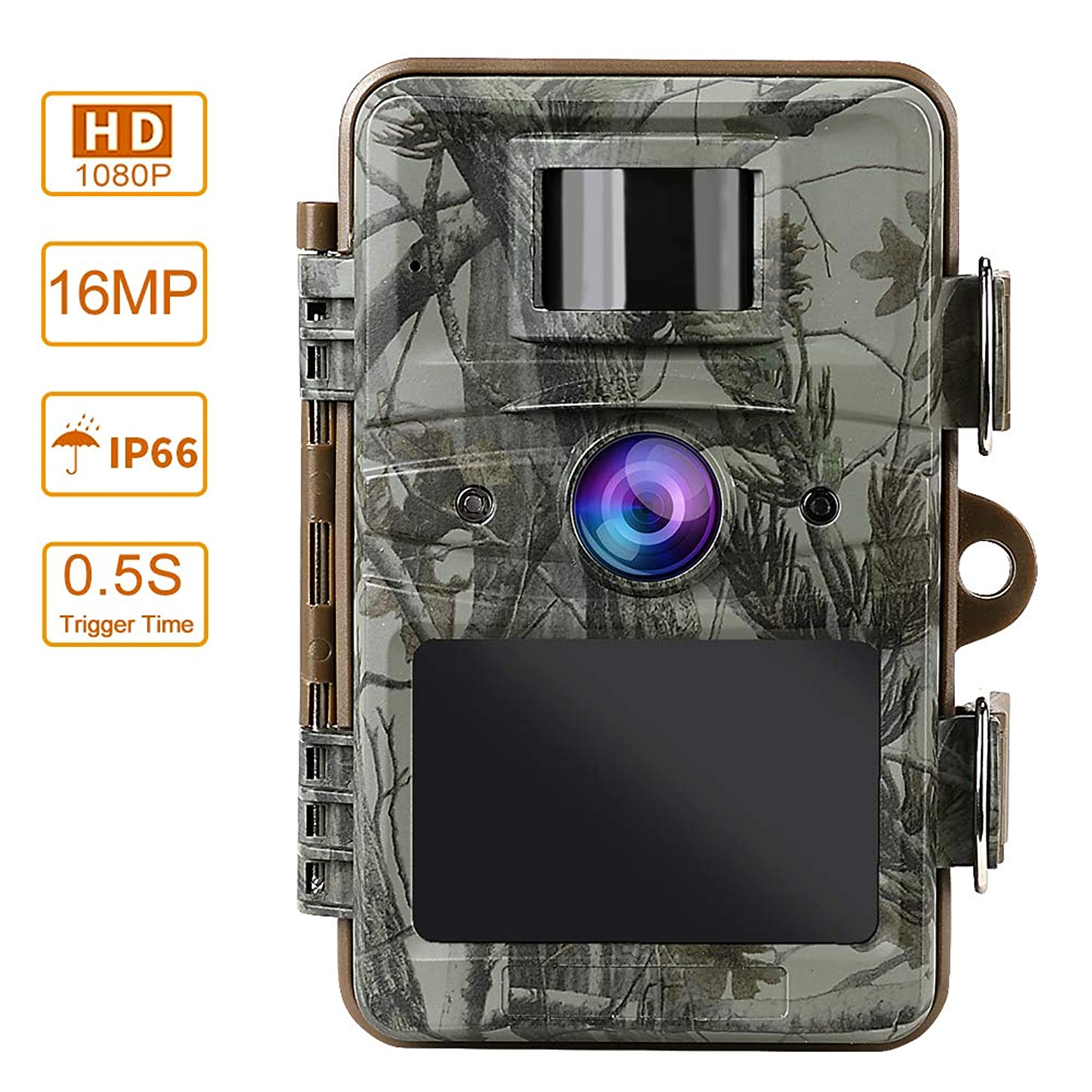 MOPHOTO Trail Camera 16MP 1080P Hunting Game Camera with Night Vision Motion Activated Waterproof Wildlife Monitoring 120° Detecting Range 2.4